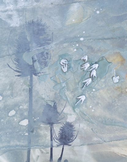Wind Seeds II, cascadia winter - abstract art, contemporary art, painting, drawing, gray, orange, yellow artwork by Emily Miller