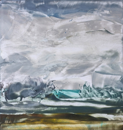 Rain over Marshlands, cascadia winter - abstract art, contemporary art, painting, gray, landscape artwork by Emily Miller