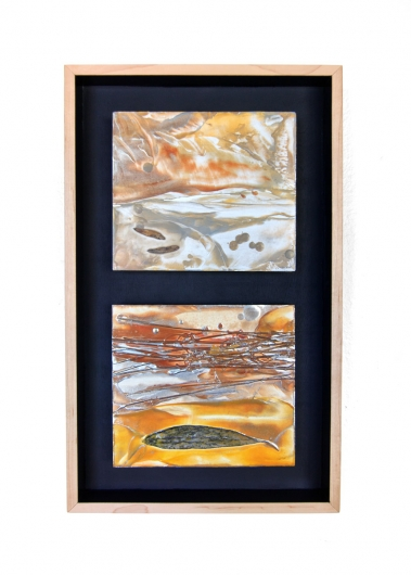 Salmon Creek, cascadia winter - abstract art, contemporary art, painting, orange, brown, yellow, fish artwork by Emily Miller