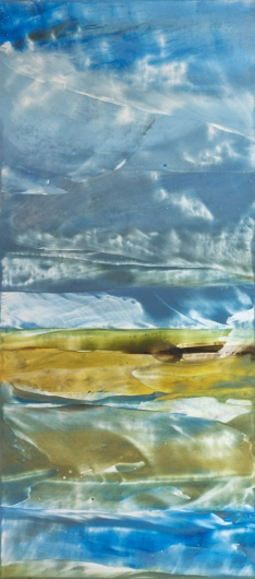 Clearing Storm, cascadia winter - abstract art, contemporary art, painting, blue, yellow artwork by Emily Miller