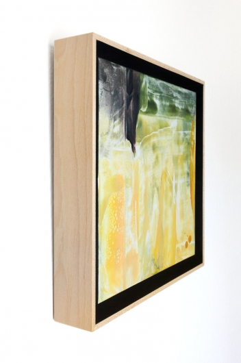 Tall Grass, cascadia winter - abstract art, contemporary art, painting, yellow, black artwork by Emily Miller
