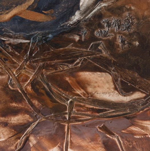 Underfoot III, cascadia winter - abstract art, contemporary art, painting, brown artwork by Emily Miller