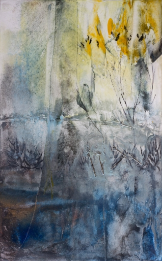 Marsh Dusk, cascadia winter - abstract art, contemporary art, blue, yellow, drawing, painting artwork by Emily Miller