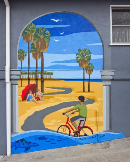 Lincoln Pier mural, public art - santa monica, mural, beach, bike path artwork by Emily Miller