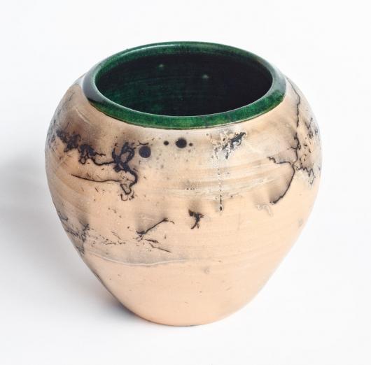 Horsehair Raku teardrop vase, Ceramics -  artwork by Emily Miller