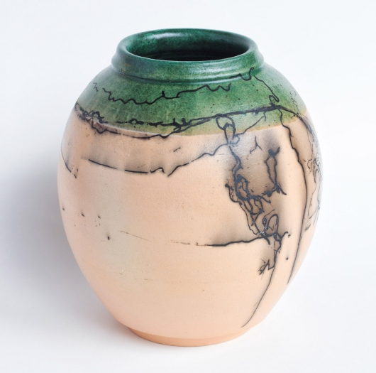 Horsehair Raku urn, Ceramics -  artwork by Emily Miller