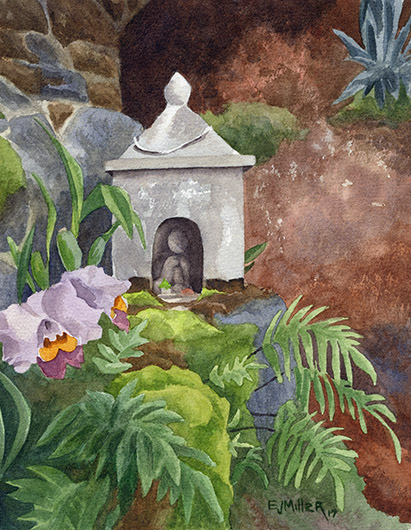 Shrine at Lawai International Center Kauai watercolor painting - Artist Emily Miller's Hawaii artwork of buddhist, shrine, lawai art