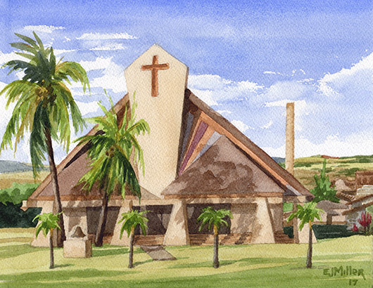 St. Theresa's, Kekaha Kauai watercolor painting - Artist Emily Miller's Hawaii artwork of church art