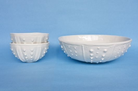 Urchin Salad Bowl - White, Urchin Bowls -  artwork by Emily Miller