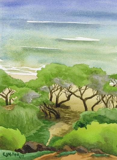 Path to Donkey Beach Kauai watercolor painting - Artist Emily Miller's Hawaii artwork of beach art