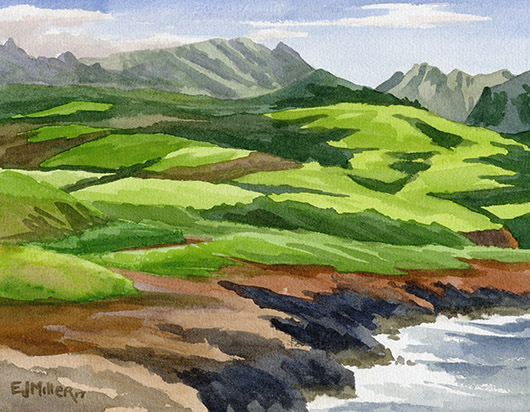 Hanapepe Pastures Kauai watercolor painting - Artist Emily Miller's Hawaii artwork of hanapepe art