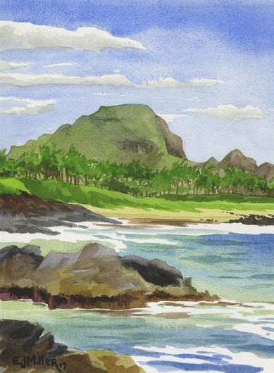 Mt. Haupu from Poipu Kauai watercolor painting - Artist Emily Miller's Hawaii artwork of poipu, haupu art