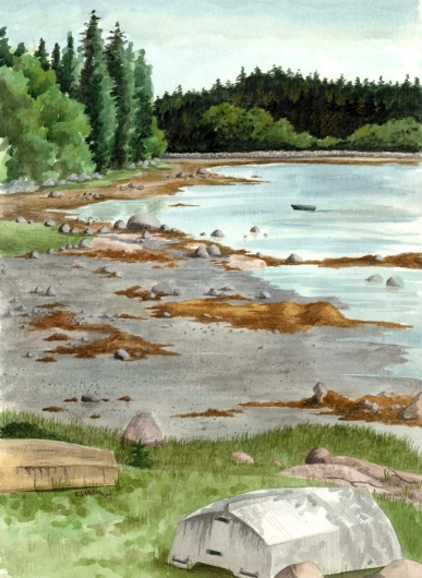 Mud Flats at Deer Isle, Down East Maine -  artwork by Emily Miller