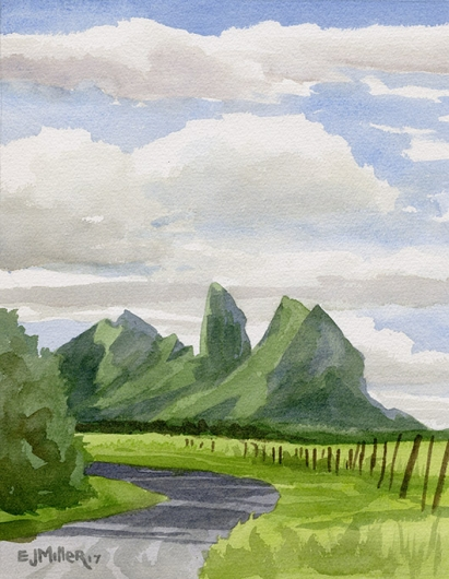 Kalalea from Kealia Road Kauai watercolor painting - Artist Emily Miller's Hawaii artwork of kalalea, anahola art