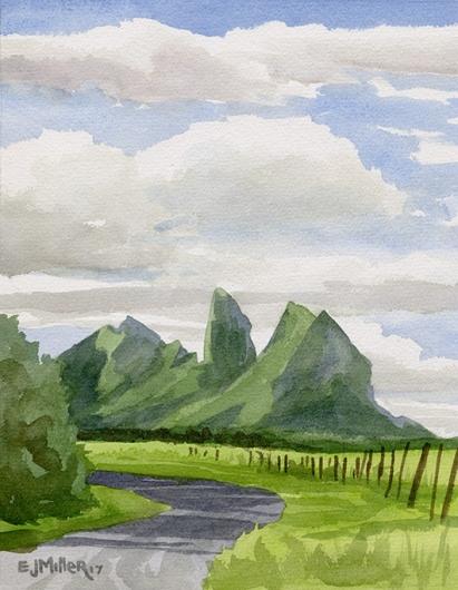 Kalalea from Kealia Road, Mauka — the mountains - kalalea, anahola artwork by Emily Miller