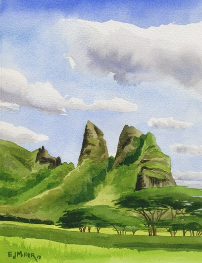 Kalalea Noon - Kauai artwork, Hawaii watercolor painting