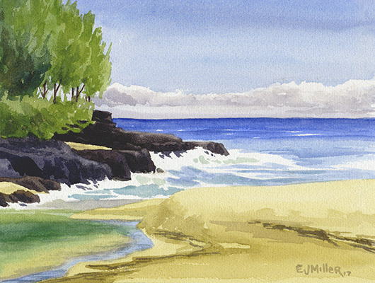 Lumahai River Mouth Kauai watercolor painting - Artist Emily Miller's Hawaii artwork of Lumahai beach, north shore Kauai art