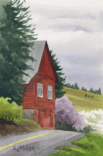 Spring at David Hill, Countryside -  artwork by Emily Miller