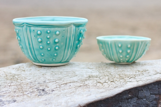 Urchin Soup Bowl - Aqua, Urchin Bowls -  artwork by Emily Miller