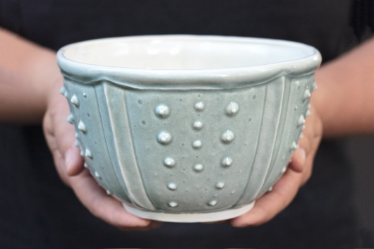 Urchin Soup Bowl - Mist, Urchin Bowls -  artwork by Emily Miller