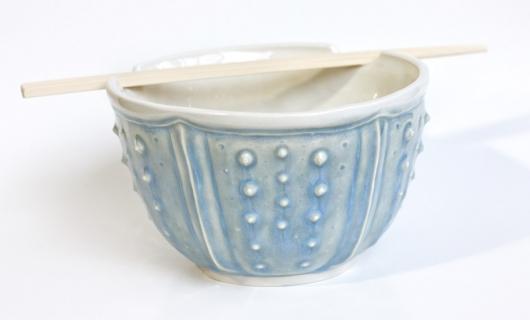 Urchin Soup Bowl - Mist (Soup Bowl w. Chopstick Holder), $45