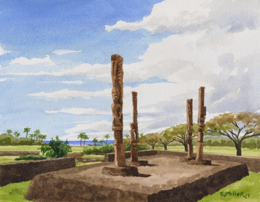 Tiki at Kaneiolouma Poipu Hawaiian village Kauai watercolor painting - Artist Emily Miller's Hawaii artwork of poipu, heiau, tiki, kaneiolouma art