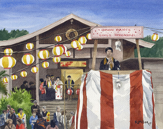 Bon Dance at Lihue Hongwanji, La'a o ke akua — Kauai churches -  artwork by Emily Miller