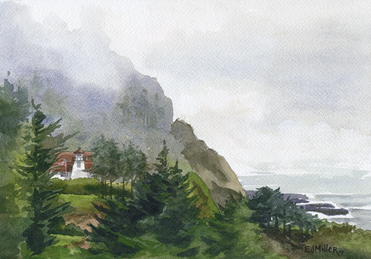 Cleft of the Rock Lighthouse, Oregon, Oregon Coast - oregon lighthouse, cape perpetua lighthouse, lighthouse, oregon coast artwork by Emily Miller