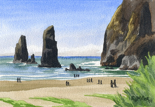 Needles and the Haystack, Cannon Beach, Oregon Coast -  artwork by Emily Miller