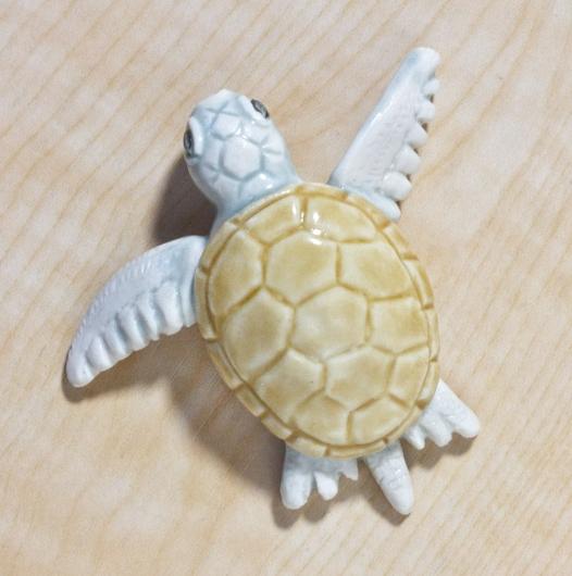 Hatching Turtle (White Swimming - Amber Shell), $80