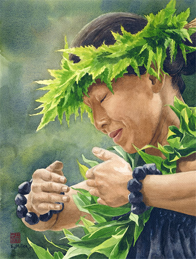 Heritage Kauai watercolor painting - Artist Emily Miller's Hawaii artwork of maile lei, hula art