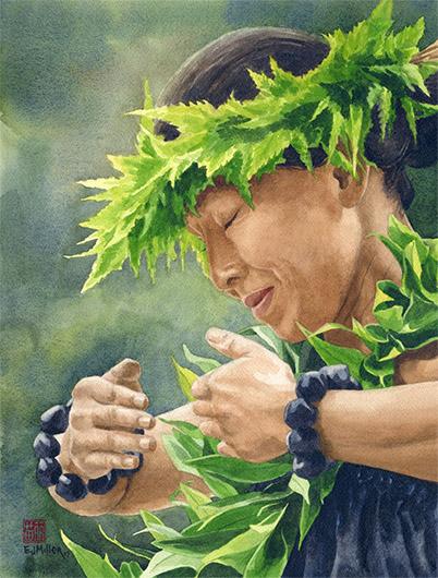 Heritage, Noho 'ana — Kauai life - maile lei, hula artwork by Emily Miller