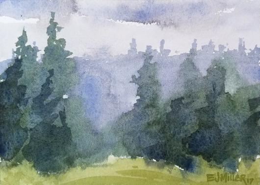 Evergreen Treeline, Countryside -  artwork by Emily Miller