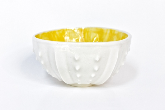 Urchin Rice Bowl - White & Yellow, Urchin Bowls -  artwork by Emily Miller