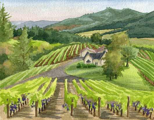 David Hill Winery, Oregon, Countryside - vineyard, winery, wine country artwork by Emily Miller