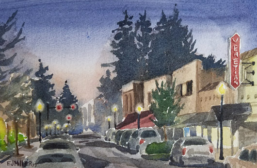 Night at the Venetian, Oregon -  artwork by Emily Miller