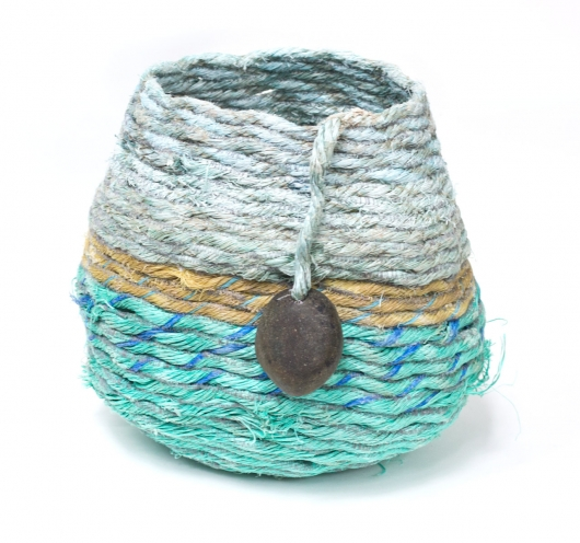 Sand Beach Basket, Rope Baskets -  artwork by Emily Miller