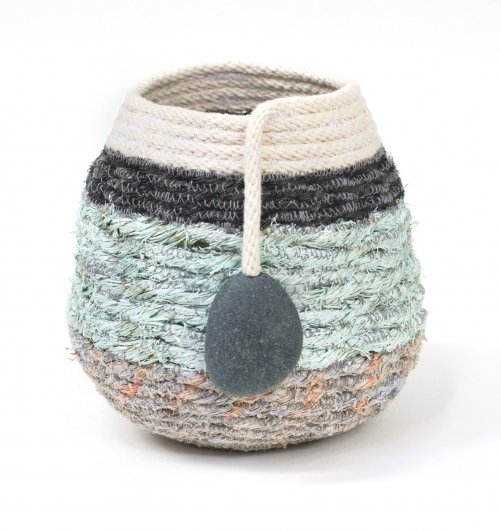 Foggy Coastline Basket, Ghost Net Baskets -  artwork by Emily Miller