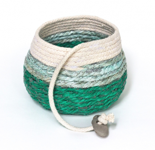 Green Water Basket, Rope Baskets -  artwork by Emily Miller