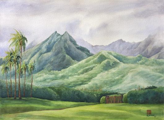 Hihimanu from Pooku, Mauka — the mountains - hihimanu, hanalei, princeville, north shore kauai, namolokama artwork by Emily Miller