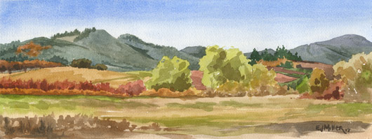 Autumn Hills, Oregon Wine Country, Oregon - wine country artwork by Emily Miller