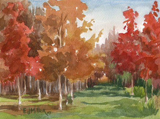 Fall Color, Countryside -  artwork by Emily Miller