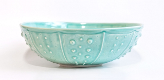 Urchin Serving Bowl - Aqua, Urchin Bowls -  artwork by Emily Miller