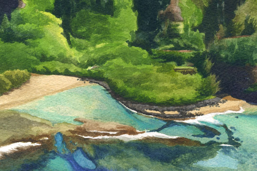 Detail - hula platform and Kalalau Trail Pali at Ke'e Beach, La'a o ke akua — Kauai churches - kee beach artwork by Emily Miller