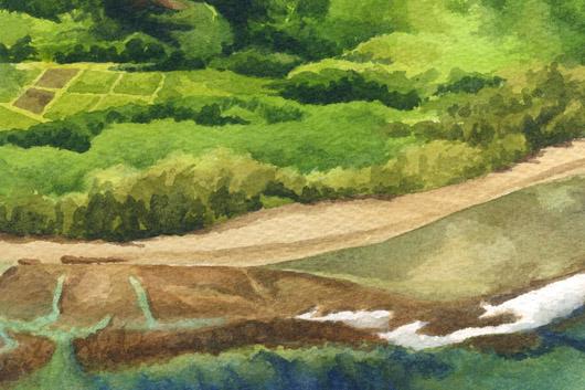 Detail - taro patch Pali at Ke'e Beach, La'a o ke akua — Kauai churches - kee beach artwork by Emily Miller