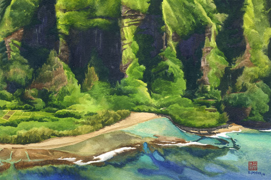 Pali at Ke'e Beach Kauai watercolor painting - Artist Emily Miller's Hawaii artwork of Haena, north shore Kauai beach, Na Pali artwork, Kee beach art