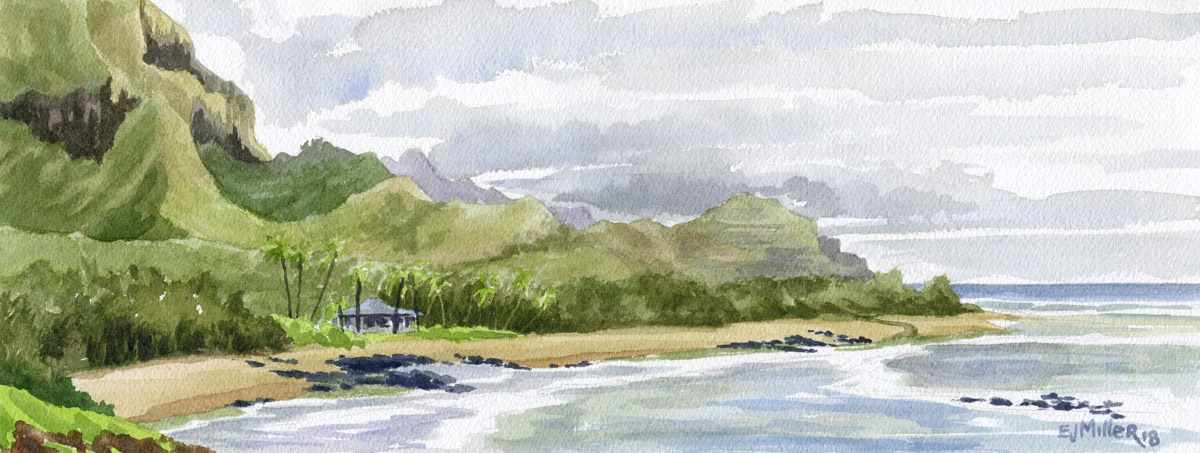 Gillin's Beach, Mahaulepu Kauai watercolor painting - Artist Emily Miller's Hawaii artwork of  art