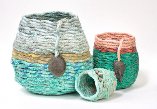 Ghost Net Baskets - fiber art sculpture
