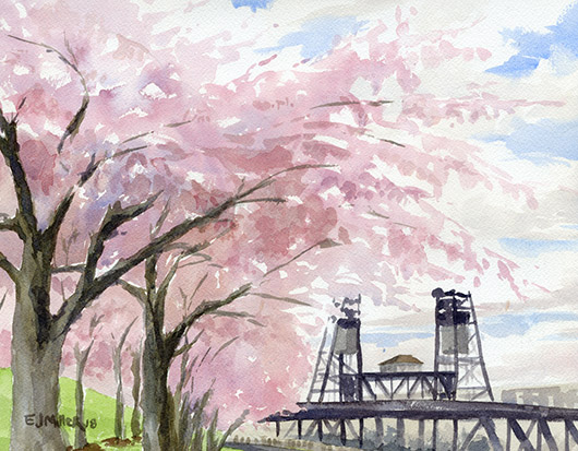 Cherry Blossoms at Portland Waterfront, Portland - cherry blossoms, portland oregon, steel bridge, portland bridges artwork by Emily Miller