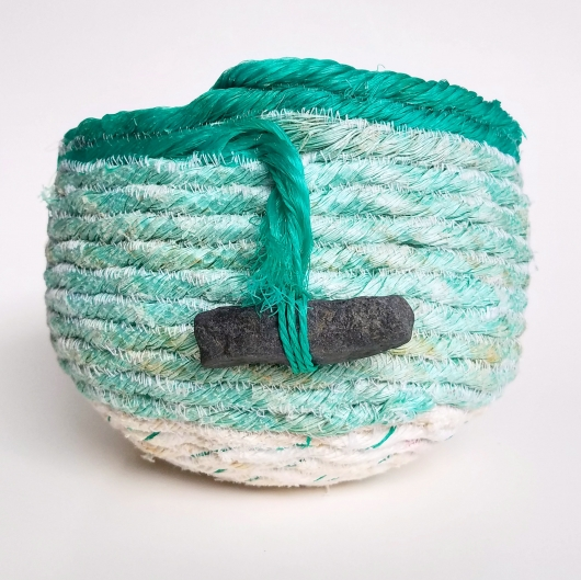 Mint Green Basket, Ghost Net Baskets -  artwork by Emily Miller